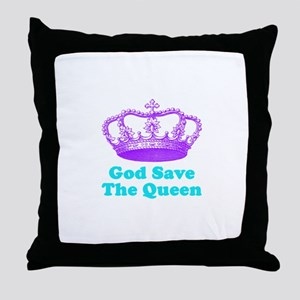 God Save the Queen (purple/tu Throw Pillow