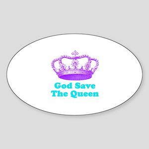 God Save the Queen (purple/tu Sticker (Oval)