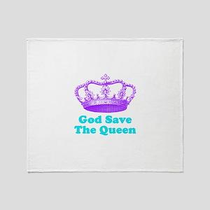 God Save the Queen (purple/tu Throw Blanket