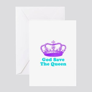 God Save the Queen (purple/tu Greeting Card