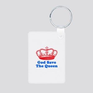 God Save the Queen (red/blue) Aluminum Photo Keych