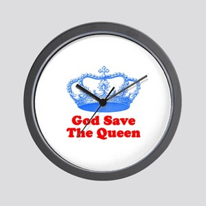 God Save the Queen (blue/red) Wall Clock
