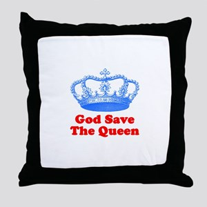 God Save the Queen (blue/red) Throw Pillow