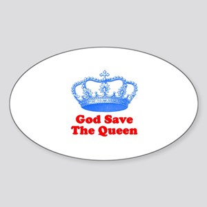 God Save the Queen (blue/red) Sticker (Oval)