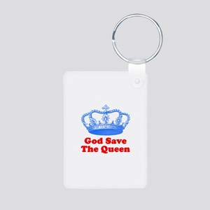 God Save the Queen (blue/red) Aluminum Photo Keych