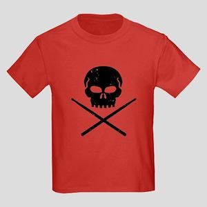 Skull and Drum Sticks Kids Dark T-Shirt