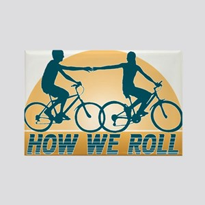 How We Roll Cycling Rectangle Magnet