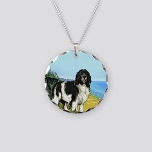 Landseer on the Beach Necklace Circle Charm