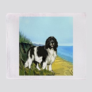Landseer on the Beach Throw Blanket