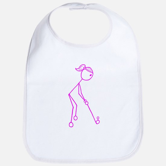 Pink Golfing Girl No Words Bib