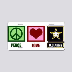 Peace Love Army Aluminum License Plate
