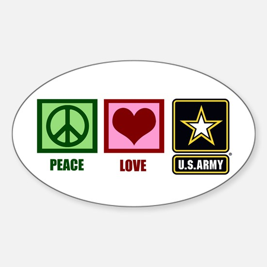 Peace Love Army Sticker (Oval)