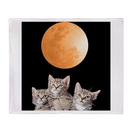 Three Kitten Moon Throw Blanket