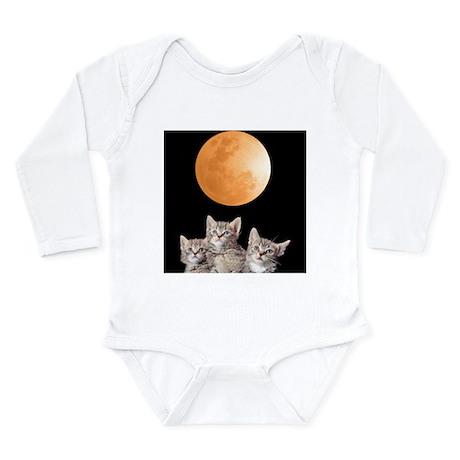 Three Kitten Moon Long Sleeve Infant Bodysuit
