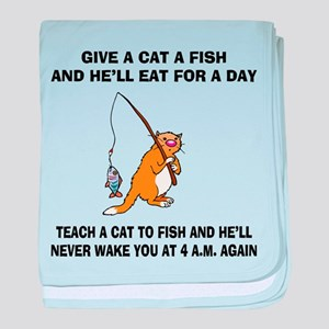 Teach A Cat To Fish baby blanket