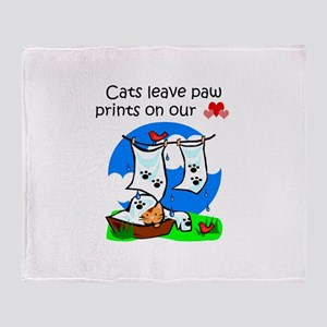 Cats Leave Paw Prints Throw Blanket
