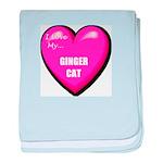 I Love My Ginger Cat baby blanket
