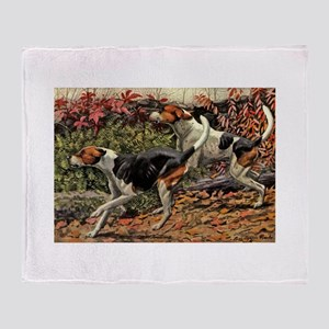 American Foxhound Art Throw Blanket