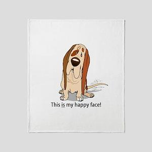 Happy Face Basset Hound Throw Blanket