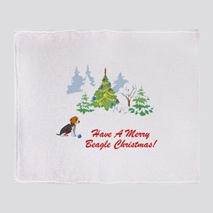 Christmas Beagle Throw Blanket