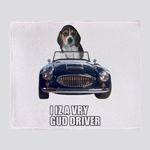 LOL Beagle Driver Throw Blanket