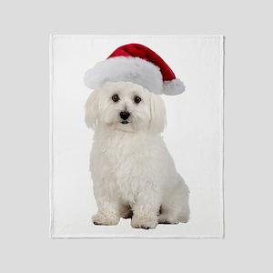 Bichon Frise Santa Throw Blanket