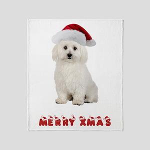 Bichon Frise Christmas Throw Blanket