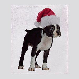 Boston Terrier Christmas Throw Blanket