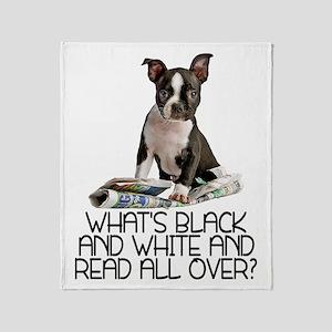 Boston Terrier Riddle Throw Blanket
