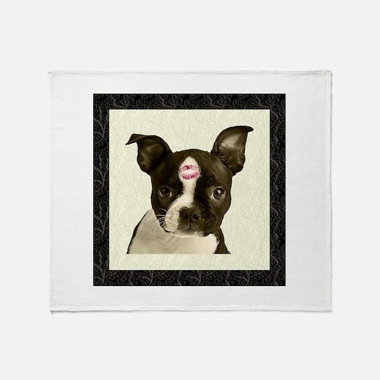Boston Terrier Kiss Throw Blanket