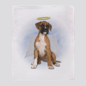 Angel Boxer Puppy Throw Blanket