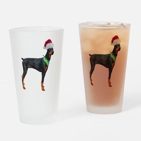 Santa Doberman Pinscher Pint Glass
