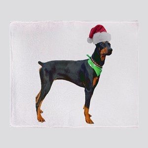 Santa Doberman Pinscher Throw Blanket