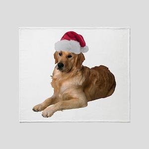 Santa Golden Retriever Throw Blanket