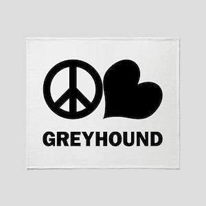 Peace Love Greyhound Throw Blanket