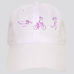 Triathlon Girl Pink No Words Cap