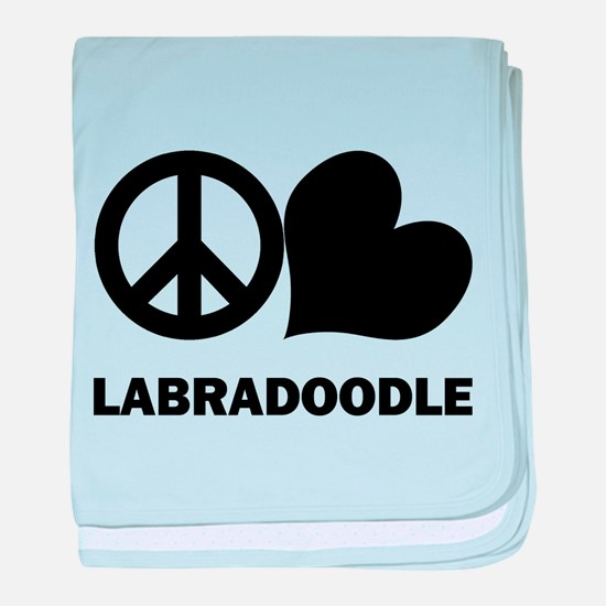 Peace Love Labradoodle baby blanket