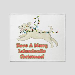 Christmas Labradoodle Throw Blanket