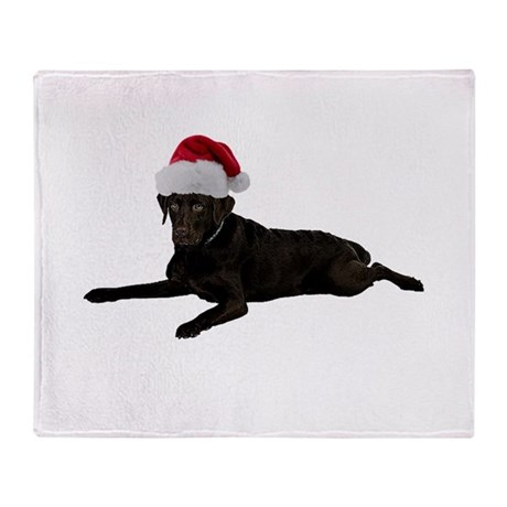 Black Lab Christmas Throw Blanket