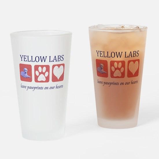 Yellow Lab Pawprints Pint Glass