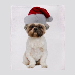 Lhasa Apso Christmas Throw Blanket