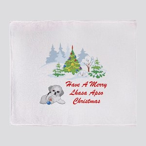 Christmas Lhasa Apso Throw Blanket