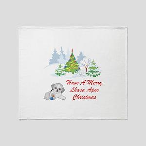 Christmas Lhasa Apso Throw Blanket