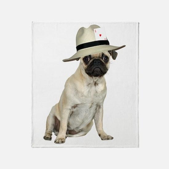 Poker Pug Throw Blanket