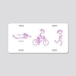 Triathlon Girl Pink No Words Aluminum License Plat