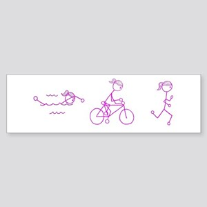 Triathlon Girl Pink No Words Sticker (Bumper)