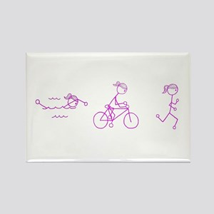 Triathlon Girl Pink No Words Rectangle Magnet