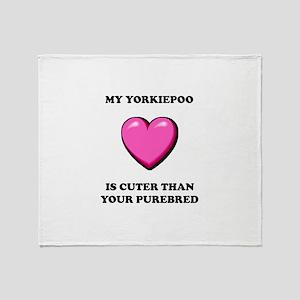 Cute Yorkipoo Throw Blanket