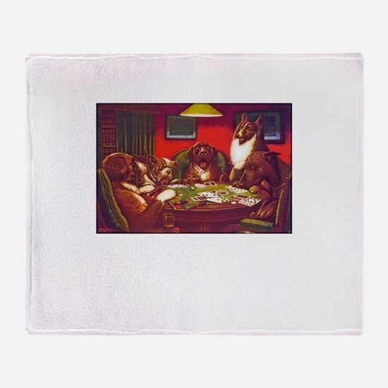 Dogs Playing Poker Waterloo Throw Blanket