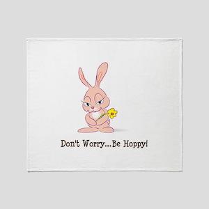 Be Hoppy Bunny Throw Blanket